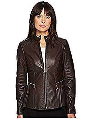 Womens Lambskin Brown Leather Biker Jacket 03