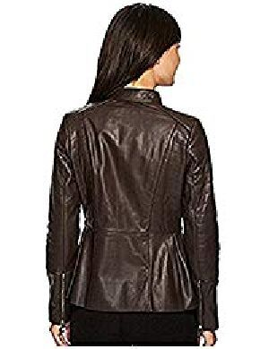 Womens Lambskin Brown Leather Biker Jacket 04