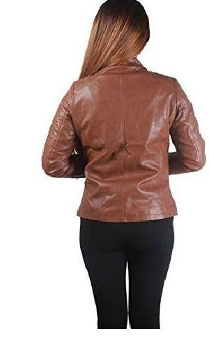 Womens Lambskin Brown Leather Biker Jacket 06