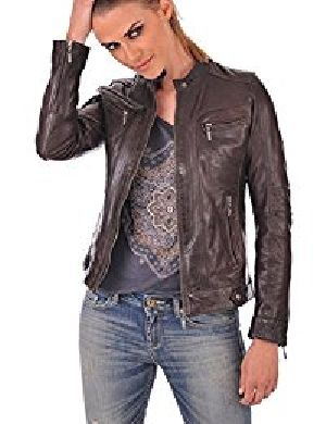 Womens Lambskin Brown Leather Biker Jacket 07