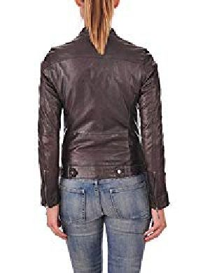 Womens Lambskin Brown Leather Biker Jacket 08