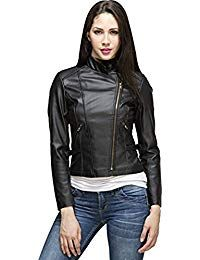 Womens Lambskin Black Leather Biker Jacket