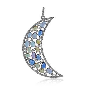 Diamond Crescent Moon Pendant