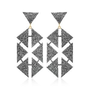 Diamonds Handmade Hexagon Dangle Earrings