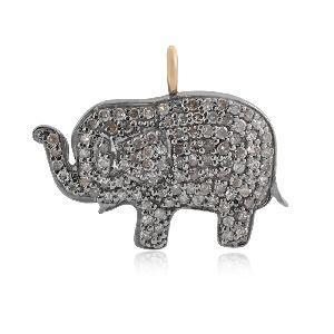 Elephant Charm Diamond Sterling Silver Pendant