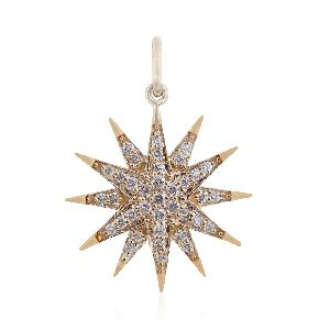 Gold Pave Diamond Star Pendant