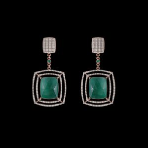 Rose Gold Pave Diamond Emerald Dangle Earrings
