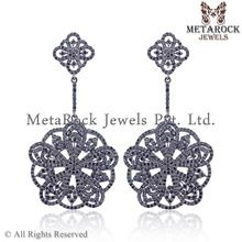 Silver Pave Black Diamond Earrings