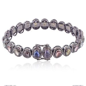 Single Line Pave Diamond Multi Sapphire Gemstone Handmade Bangle