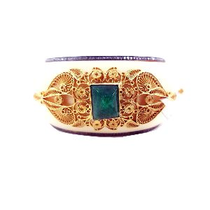 Yellow Gold Emerald Gemstone Enamel Bangle