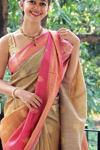Beige Colored soft silk sarees _SD147