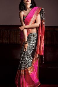 Black partywear Colored soft silk printed sarees _SD160