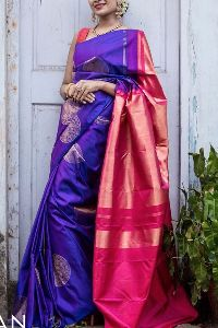 Blue Colored soft silk printed sarees _SD151