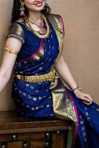 Blue partywear Colored soft silk printed sarees _SD194
