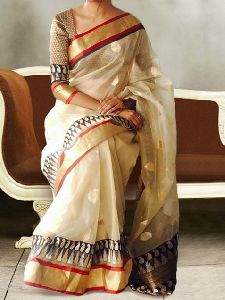 Cream Color Soft Silk Designer Sarees - sd621