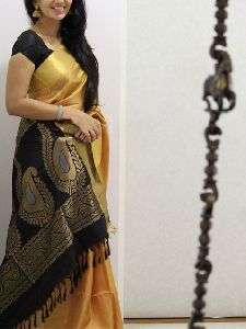 Cream n Black Color Soft Silk Designer Sarees - SD1039