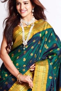 Green Colored soft silk sarees _SD136