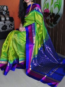Green n Blue Color Soft Silk Designer Sarees - Sd711