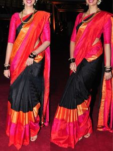 Orange n Black Color Soft Silk Designer Sarees - sd624
