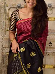 Pretty Black Color Soft Silk Designer Sarees - sd1284