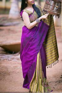 purple partywear Colored soft silk printed sarees _SD180