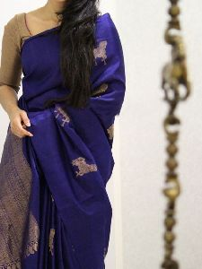 Shine Blue Color Soft Silk Designer Saree - sd1021