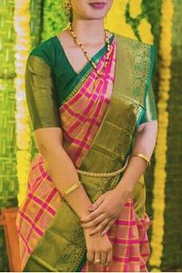 Green Colored soft silk printed sarees _SD158