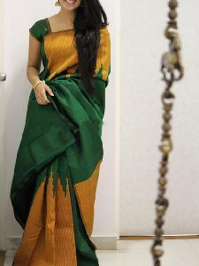 Soft Silk Green n Yellow color Printed Saree - SD1046