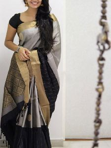 Soft Silk Grey N Black color Printed Saree - SD1033