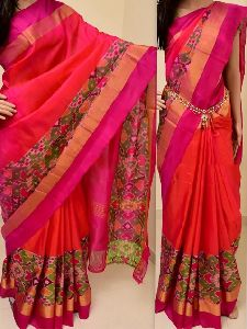 Soft Silk pink color Printed Saree - SD853