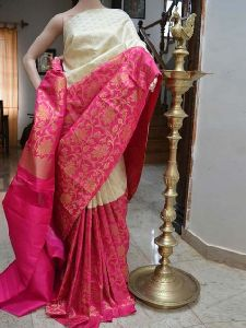 Soft Silk white n Pink Printed Saree - SD705