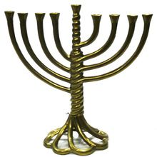 Menorah Brass Gold finish candle holder