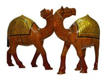 Handcrafted Wooden Gold Plated Camels