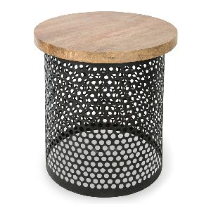 Perforated Metal Wooden Top Side Table