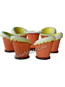 Ice Cream Shaped 1 Table and 6 Chairs Set
