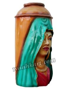 Lady Face Wooden Coloured Vase