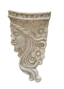 White Lady Face Wall Decor Planter