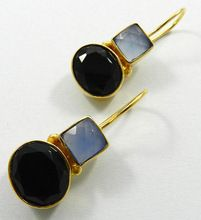Black onyx AND blue chalcedony Earring