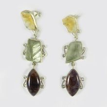 Cacoxenite AND green amethyst Earring