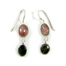 Natural pink green  earring
