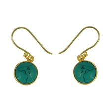 Synthetic green turquoise gemstone Earring