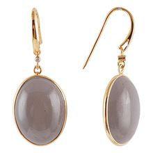 Gold plated earrings in grey moonstone