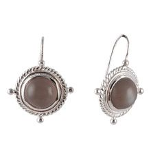 Grey moonstone studded sterling silver earrings