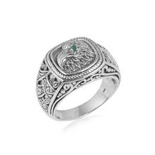 Indian designer silver jewelry ring emerald