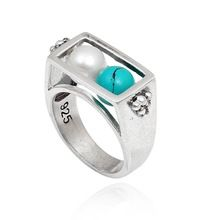 Natural 925 sterling silver ring dyed turquoise and pearl stud designer ring