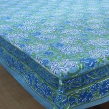 Hand Block Printed Tablecloth Blue Daffodils