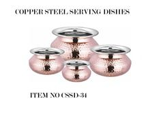 Copper Steel Indian Biryani Rice Serving Pots