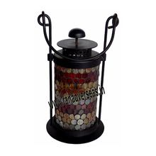 Hanging Iron Glass Colorful Lanterns