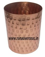 Round Shape Pure Copper Hammerred Tumbler