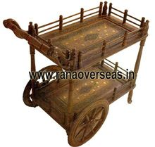 Solid Wood Natural Finish Serving Trolley Cart